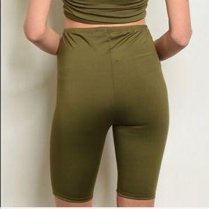Olive green biker shorts, NEW!